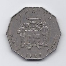 JAMAIKA 50 CENTS 1989 KM # 65 VF