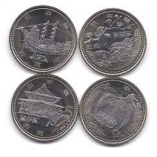 JAPONIJA 4 X 500 YEN 2009 KM # 147, 149, 153, 155 UNC NAGANO, NIJIGATOS, IBARAKIO ir NAROS PREFEKTŪROS