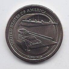 JAV 1 DOLLAR 2021 D KM # new UNC Amerikiečių inovacijos - Virdžinija