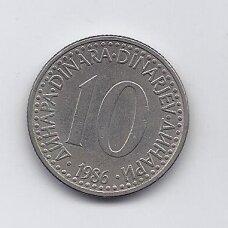 JUGOSLAVIJA 10 DINARA 1986 KM # 89 VF/XF