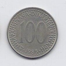 JUGOSLAVIJA 100 DINARA 1985 KM # 114 VF