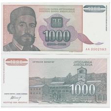 JUGOSLAVIJA 1000 DINARA 1994 P # 140 VF