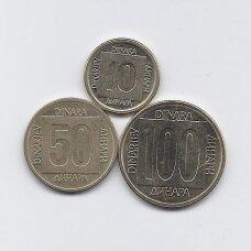 JUGOSLAVIJA 1988 - 1989 m. 3 monetų rinkinukas