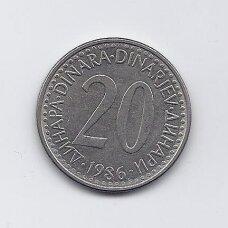 JUGOSLAVIJA 20 DINARA 1987 KM # 112 VF/XF