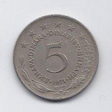 JUGOSLAVIJA 5 DINARA 1971 KM # 58 VF