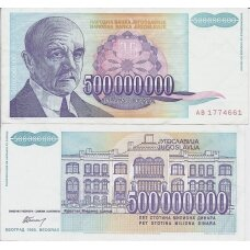 JUGOSLAVIJA 500 000 000 DINARA 1993 P # 134 VF