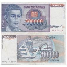 JUGOSLAVIJA 500 000 DINARA 1993 P # 119 VF