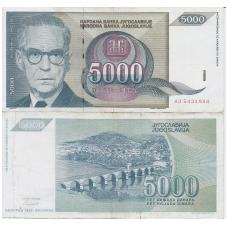 JUGOSLAVIJA 5000 DINARA 1992 P # 115 F - VF