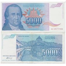 JUGOSLAVIJA 5000 DINARA 1994 P # 141 VF