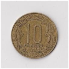 PUSIAUJO AFRIKA 10 FRANCS 1969 KM # 2a VF