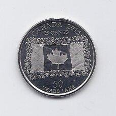 KANADA 25 CENTS 2015 KM # 1851.1 UNC Kanados vėliava