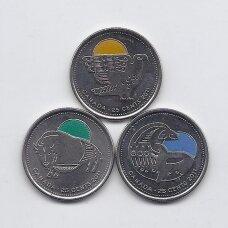KANADA 3 x 25 CENTS 2011 KM # 1168a - 1170a UNC Kanados legendų gamta