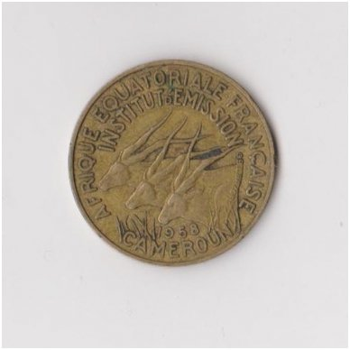 KAMERŪNAS 10 FRANCS 1958 KM # 11 VF 2