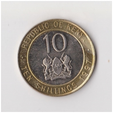 KENIJA 10 SHILLINGS 1997 KM # 27 XF