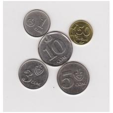 KIRGIZIJA 2008 - 2009 m. 5 monetų rinkinukas