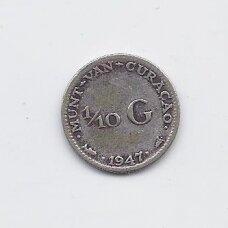KIURASAO 1/10 GULDEN 1947 KM # 43 F