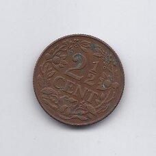 KIURASAO 2 1/2 CENTS 1944 KM # 42 VF