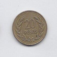 KOLUMBIJA 20 PESOS 1990 KM # 282 VF