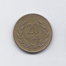 KOLUMBIJA 20 PESOS 1992 KM # 282 VF