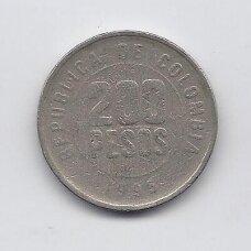 KOLUMBIJA 200 PESOS 1995 KM # 287 F/VF