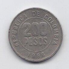 KOLUMBIJA 200 PESOS 1996 KM # 287 VF