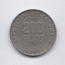 KOLUMBIJA 200 PESOS 2005 KM # 287 VF