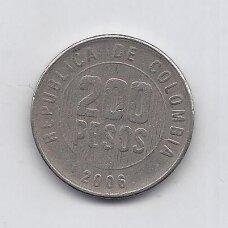 KOLUMBIJA 200 PESOS 2006 KM # 287 VF
