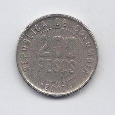 KOLUMBIJA 200 PESOS 2007 KM # 287 VF