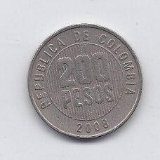 KOLUMBIJA 200 PESOS 2008 KM # 287 VF
