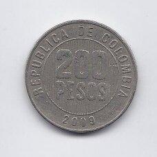 KOLUMBIJA 200 PESOS 2009 KM # 287 VF