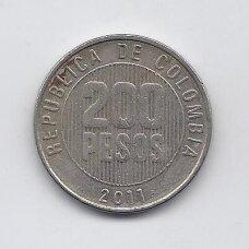 KOLUMBIJA 200 PESOS 2011 KM # 287 VF
