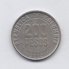 KOLUMBIJA 200 PESOS 2012 KM # 287 VF