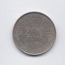 KOLUMBIJA 200 PESOS 2013 KM # 297 VF
