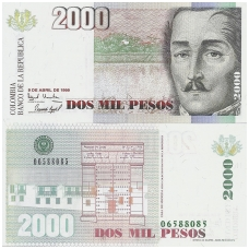 KOLUMBIJA 2000 PESOS 1999 P # 445e UNC