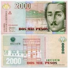 KOLUMBIJA 2000 PESOS 2014 P # 457 UNC