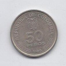 KOLUMBIJA 50 PESOS 1988 KM # 272 VF Konstitucija