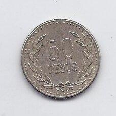 KOLUMBIJA 50 PESOS 1989 KM # 283 VF