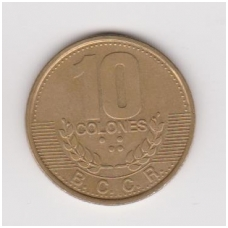 KOSTA RIKA 10 COLONES 1995 KM # 228 VF