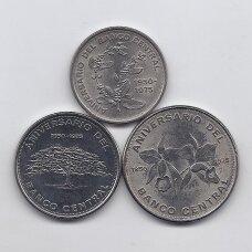 KOSTA RIKA 1975 m. 3 monetų rinkinys KM # 203-205 AU 25 m. Centriniam bankui