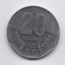 KOSTA RIKA 20 COLONES 1994 KM # 216 VF