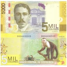 KOSTA RIKA 5000 COLONES 2012 P # 276b UNC