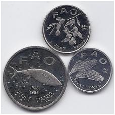 KROATIJA 1995 m. trijų FAO monetų rinkinukas