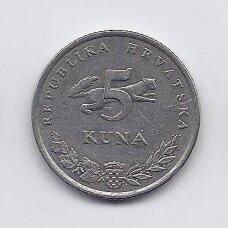 KROATIJA 5 KUNA 1996 KM # 23 VF