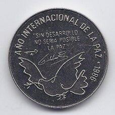 KUBA 1 PESO 1986 KM # 156 PROOF Tarptautiniai taikos metai