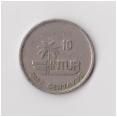 KUBA 10 CENTAVOS 1989 KM # 415.2 VF