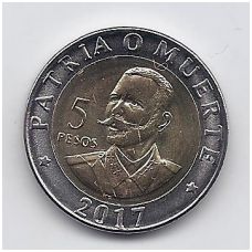 5 PESOS 2017 KM # new UNC ANTONIO MACEO