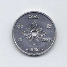 LAOSAS 10 CENTS 1952 KM # 4 XF