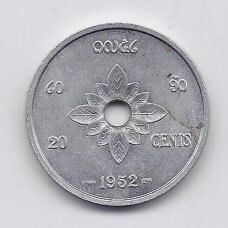 LAOSAS 20 CENTS 1952 KM # 5 VF