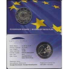 LATVIA 2 EURO 2015 FLAG ( COINCARD )