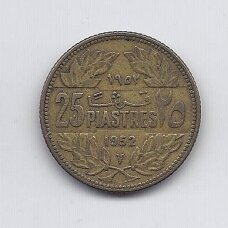LIBANAS 25 PIASTRES 1952 KM # 16.1 VF